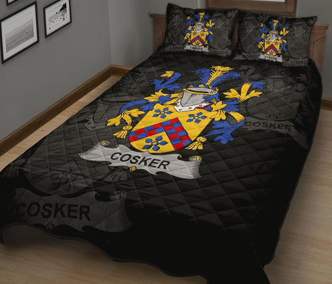 Irish Quilt Bed Set, Cosker or McCosker Family Crest Premium Quilt And Pillow Cover A7