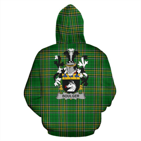Boulger or O'Bolger Ireland Hoodie Irish National Tartan (Pullover) | Women & Men | Over 1400 Crests
