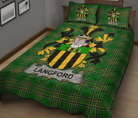 Langford Ireland Quilt Bed Set Irish National Tartan | Over 1400 Crests | Home Set | Bedding Set