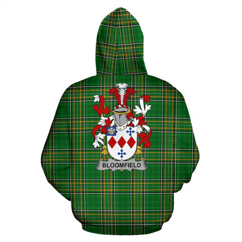 Bloomfield Ireland Hoodie Irish National Tartan (Pullover) | Women & Men | Over 1400 Crests