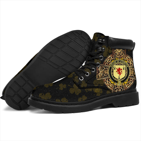 Dwyer or O'Dwyer Family Crest Shamrock Gold Cross 6-inch Irish All Season Boots K6