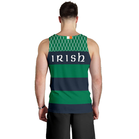 Rugby Mens Tank Top - Croker Green and Navy Traditional - Green - Back - For Men