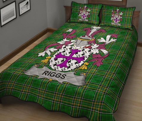 Riggs Ireland Quilt Bed Set Irish National Tartan | Over 1400 Crests | Home Set | Bedding Set