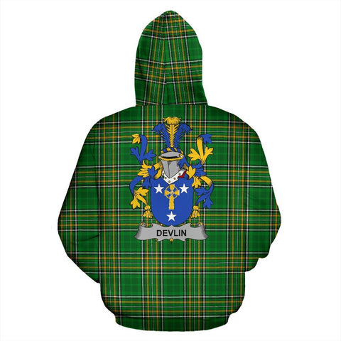 Devlin or O'Devlin Ireland Hoodie Irish National Tartan (Pullover) | Women & Men | Over 1400 Crests