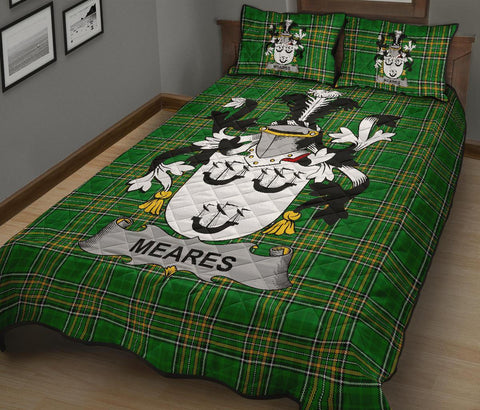 Meares Ireland Quilt Bed Set Irish National Tartan | Over 1400 Crests | Home Set | Bedding Set