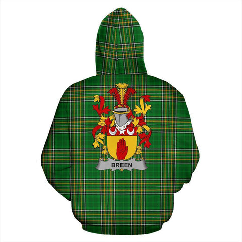 Breen or O'Breen Ireland Hoodie Irish National Tartan (Pullover) | Women & Men | Over 1400 Crests