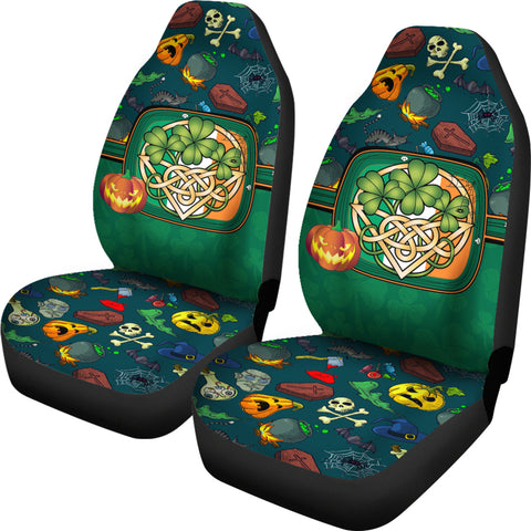 Ireland Halloween Car Seat Covers Celtic Shamrock K4