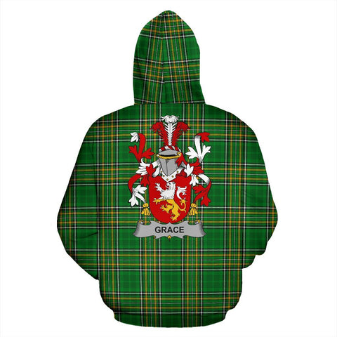 Grace Ireland Hoodie Irish National Tartan (Pullover) | Women & Men | Over 1400 Crests