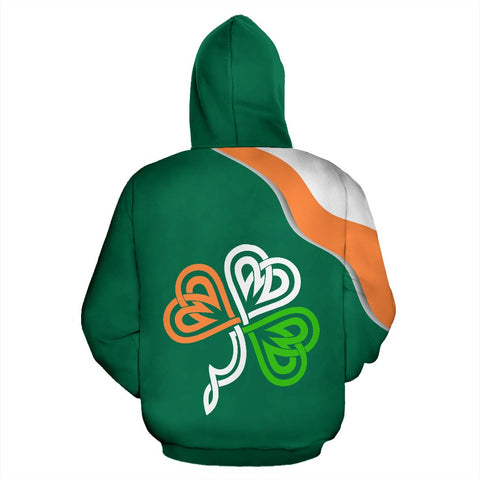 Image of Ireland Rugby Hoodie, Shamrock Celtic Knot All Over Print Hoodie K4