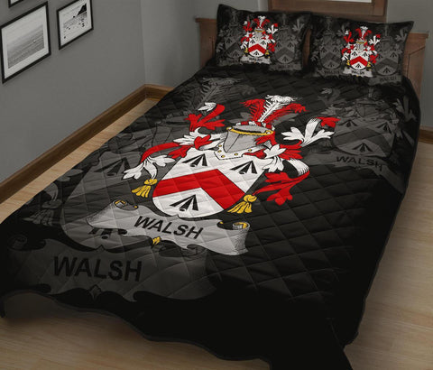 Irish Quilt Bed Set, Walsh Family Crest Premium Quilt And Pillow Cover A7