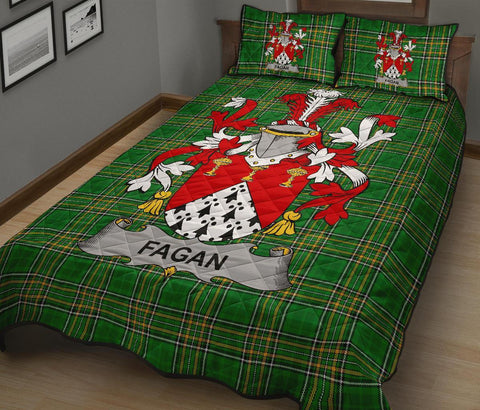 Fagan Ireland Quilt Bed Set Irish National Tartan | Over 1400 Crests | Home Set | Bedding Set