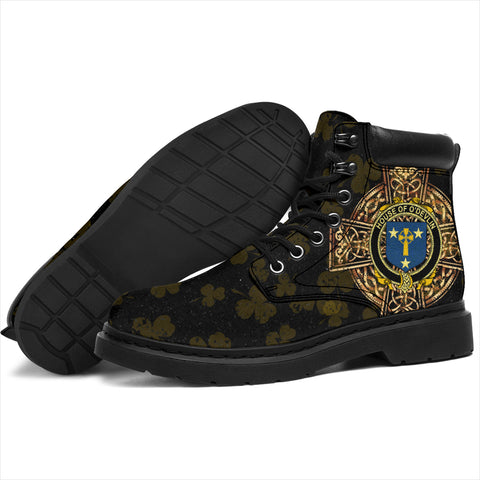 Devlin or O'Devlin Family Crest Shamrock Gold Cross 6-inch Irish All Season Boots K6