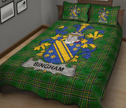 Image of Bingham Ireland Quilt Bed Set Irish National Tartan | Over 1400 Crests | Home Set | Bedding Set