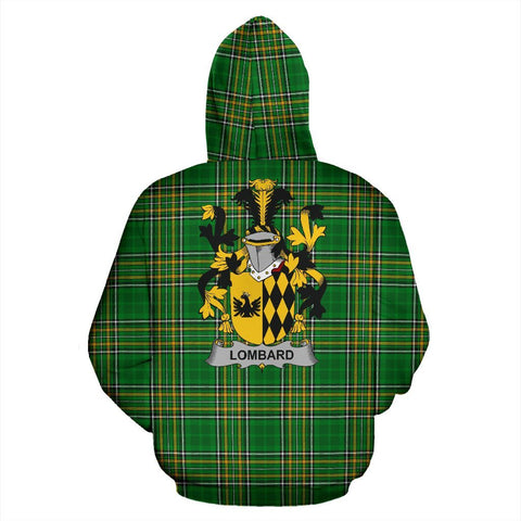 Lombard Ireland Hoodie Irish National Tartan (Pullover) | Women & Men | Over 1400 Crests