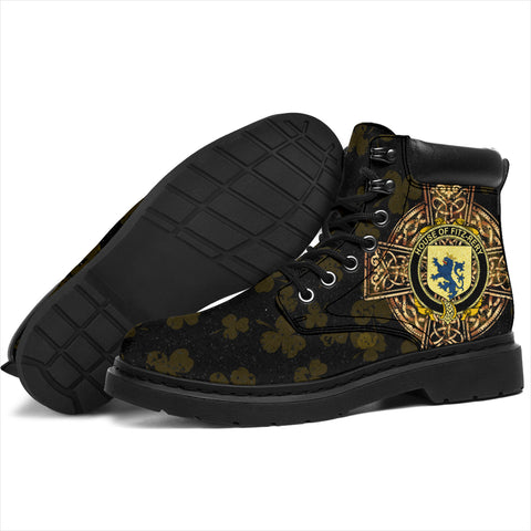 Fitz-Rery Family Crest Shamrock Gold Cross 6-inch Irish All Season Boots K6