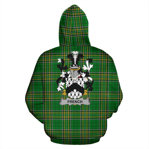 Image of French Ireland Hoodie Irish National Tartan (Pullover) | Women & Men | Over 1400 Crests