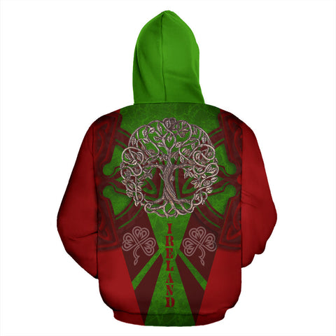 Irish Royal Celtic Tree Hoodie - Red Color - Back
