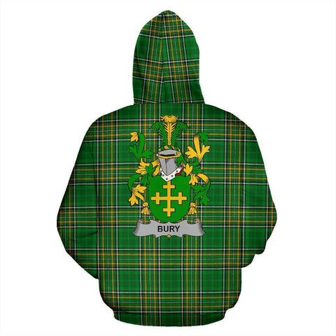 Image of Bury or Berry Ireland Hoodie Irish National Tartan (Pullover) | Women & Men | Over 1400 Crests