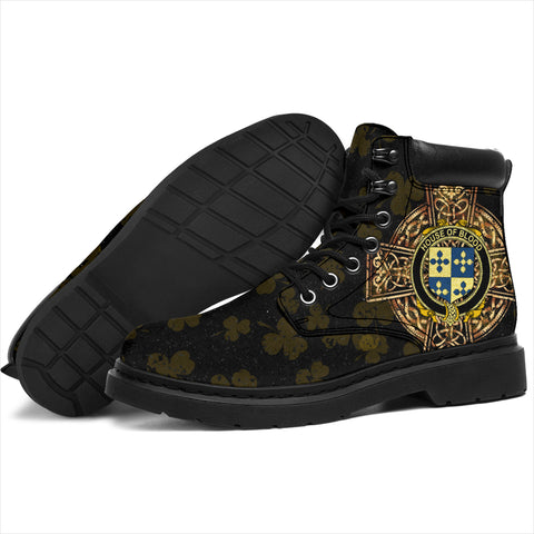 Image of Blood Family Crest Shamrock Gold Cross 6-inch Irish All Season Boots K6