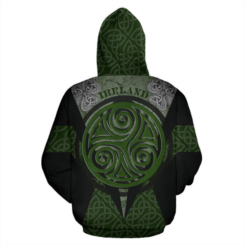 Irish Celtic Spiral Knot Zip Hoodie - Black Color - Back