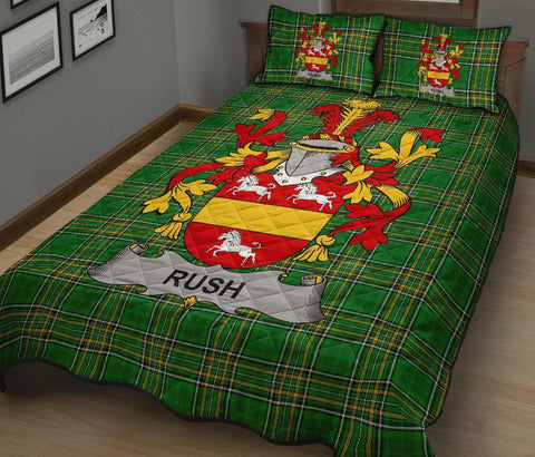 Rush Ireland Quilt Bed Set Irish National Tartan | Over 1400 Crests | Home Set | Bedding Set