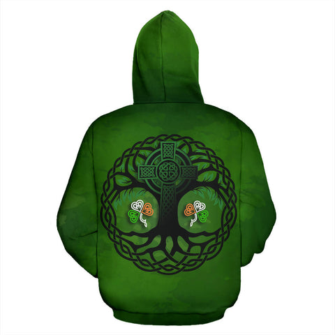 Celtic Cross Tree of Life Zip Hoodie - Ireland Shamrock back