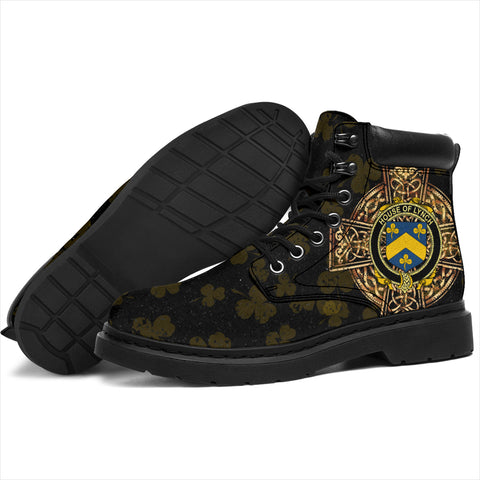 Lynch Family Crest Shamrock Gold Cross 6-inch Irish All Season Boots K6