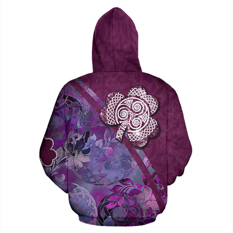 Irish Shamrock Celtic Garden Amethyst Hoodie - Back for Men and Women