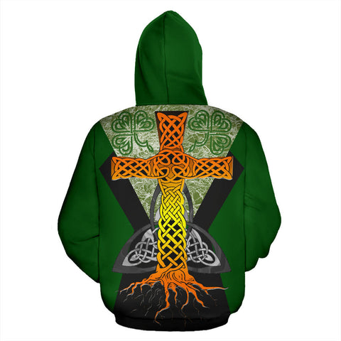 Irish Celtic Cross With Knot Symbol Zip Hoodie - Green Color - Back