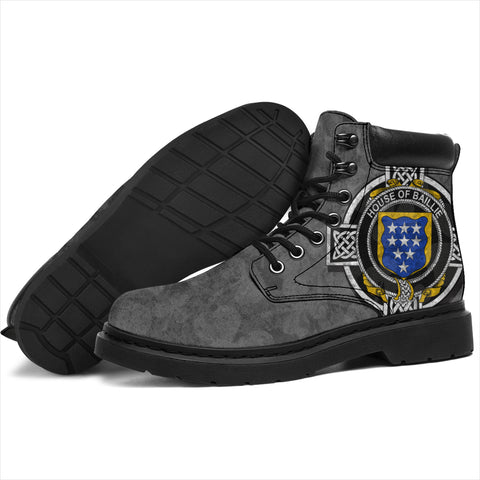 Irish All Season Boots, Baillie Family Crest Shamrock 6-inch Gray Boots