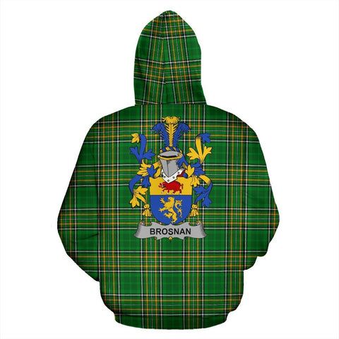 Brosnan or O'Brosnan Ireland Hoodie Irish National Tartan (Pullover) | Women & Men | Over 1400 Crests