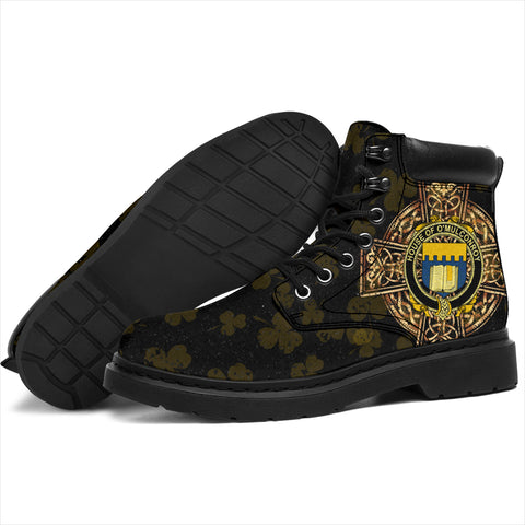 Conroy or O'Mulconroy Family Crest Shamrock Gold Cross 6-inch Irish All Season Boots K6