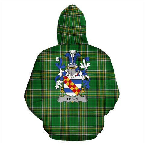 Leigh or McLaeghis Ireland Hoodie Irish National Tartan (Pullover) | Women & Men | Over 1400 Crests