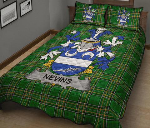 Nevins or McNevins Ireland Quilt Bed Set Irish National Tartan | Over 1400 Crests | Home Set | Bedding Set