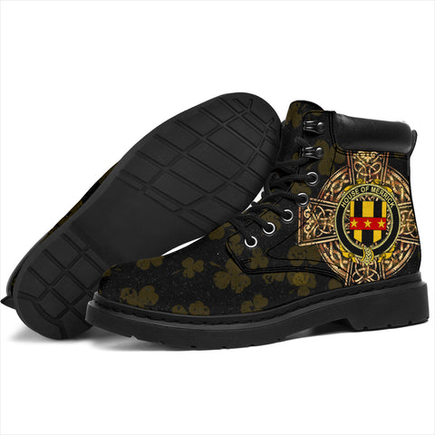 Merrick or Meyrick Family Crest Shamrock Gold Cross 6-inch Irish All Season Boots K6