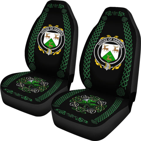Image of Hawkins or Haughan Ireland Shamrock Celtic Irish Surname Car Seat Covers TH7