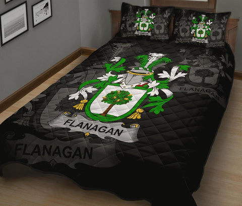 Image of Irish Quilt Bed Set, Flanagan or O'Flanagan Family Crest Premium Quilt And Pillow Cover A7