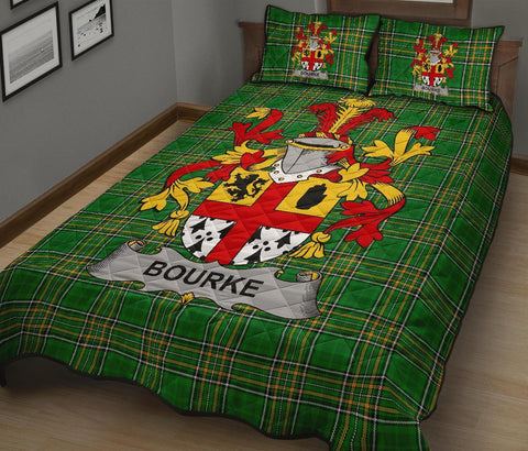 Bourke Ireland Quilt Bed Set Irish National Tartan | Over 1400 Crests | Home Set | Bedding Set