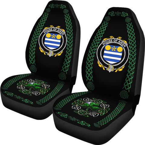 Aiken Ireland Shamrock Celtic Irish Surname Car Seat Covers TH7