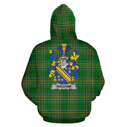 Image of Bingham Ireland Hoodie Irish National Tartan (Pullover) | Women & Men | Over 1400 Crests