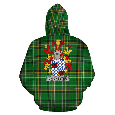 Chichester Ireland Hoodie Irish National Tartan (Pullover) | Women & Men | Over 1400 Crests