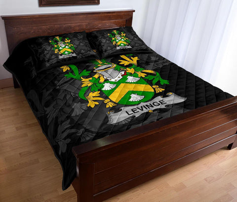 Irish Quilt Bed Set, Levinge or Levens Family Crest Premium Quilt And Pillow Cover A7