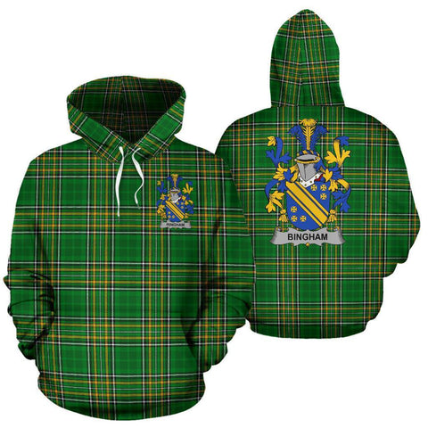 Bingham Ireland Hoodie Irish National Tartan (Pullover) | Women & Men | Over 1400 Crests
