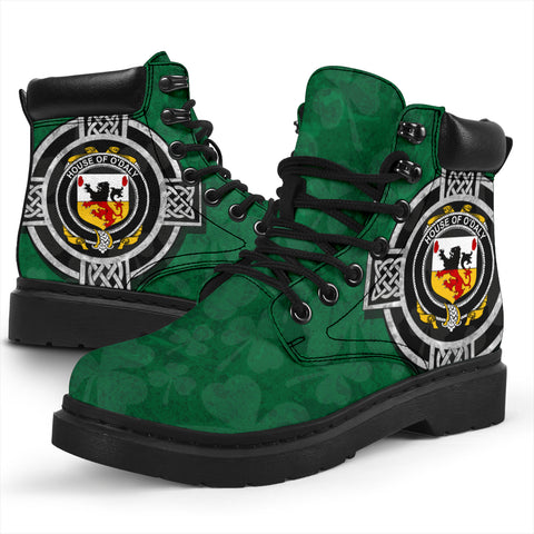 Irish All Season Boots, Daly or O'Daly Family Crest Shamrock 6-inch Boots