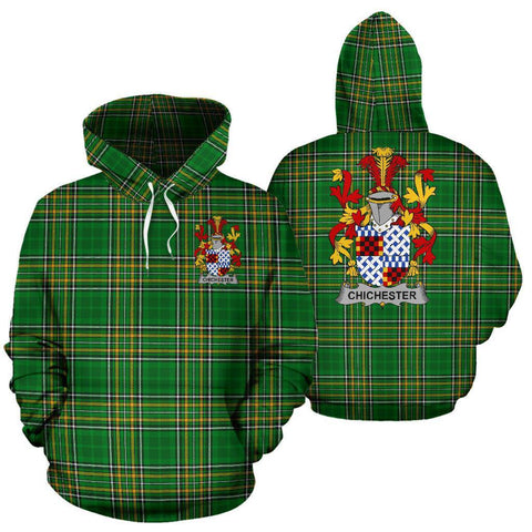 Image of Chichester Ireland Hoodie Irish National Tartan (Pullover) | Women & Men | Over 1400 Crests