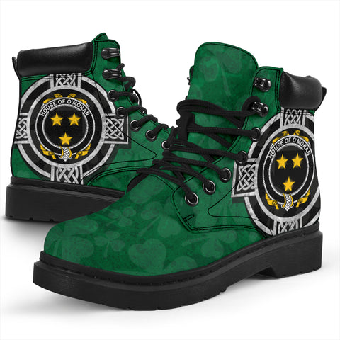 Image of Irish All Season Boots, Moran or O'Moran Family Crest Shamrock 6-inch Boots