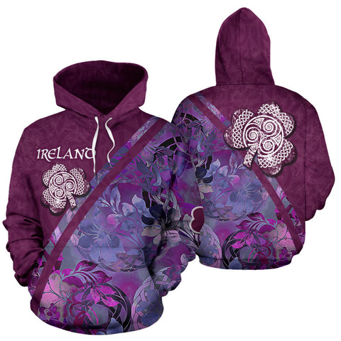 Irish Shamrock Celtic Garden Amethyst Hoodie - Front and Back for Men and Women