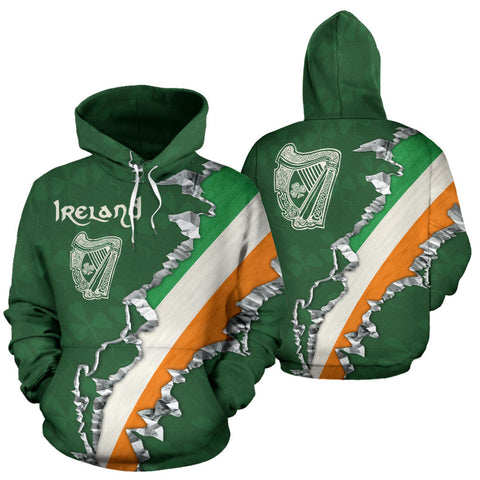 Ireland In Me Hoodie with Green color - Front and Back - For Men and Women