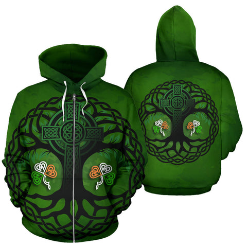 Celtic Cross Tree of Life Zip Hoodie - Ireland Shamrock front and back