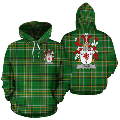 Dwyer or O'Dwyer Ireland Hoodie Irish National Tartan (Pullover) | Women & Men | Over 1400 Crests